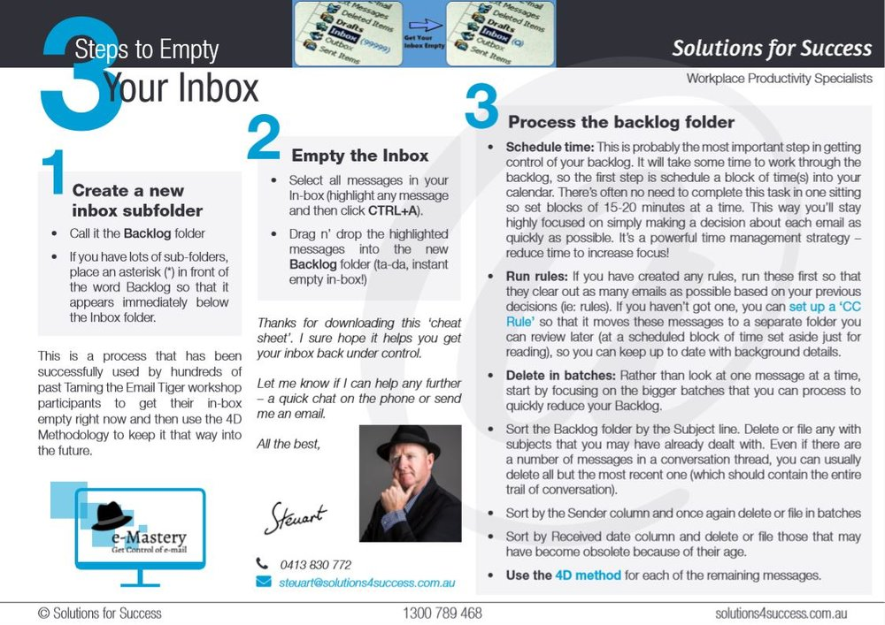 3 Steps to Empty Your Inbox - One-page Cheat Sheet