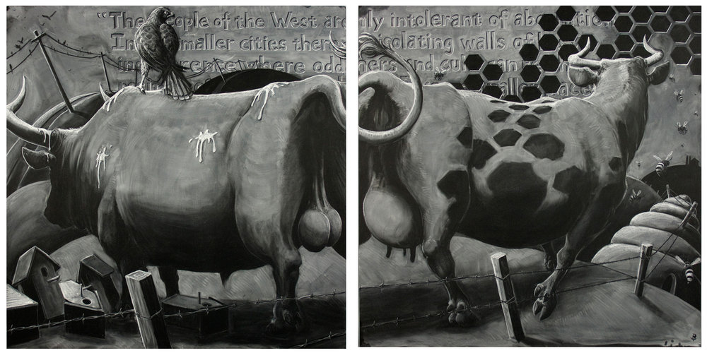 "Benton's Escape - chalk on two 48""x48"" blackboard panels"