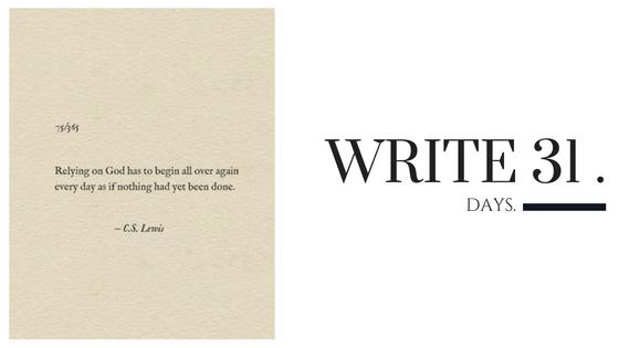 Kara Nothnagel - Write 31 Days - Begin