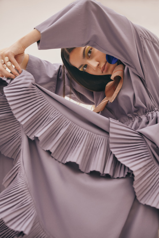 Dress: Carlo Carrizosa - Scarf: Vintage Valentino - Earrings: Aysha Bilgrami