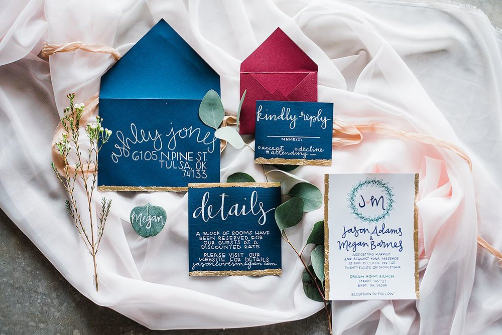 wedding invitation hand crafted gold leaf tulsa.jpg