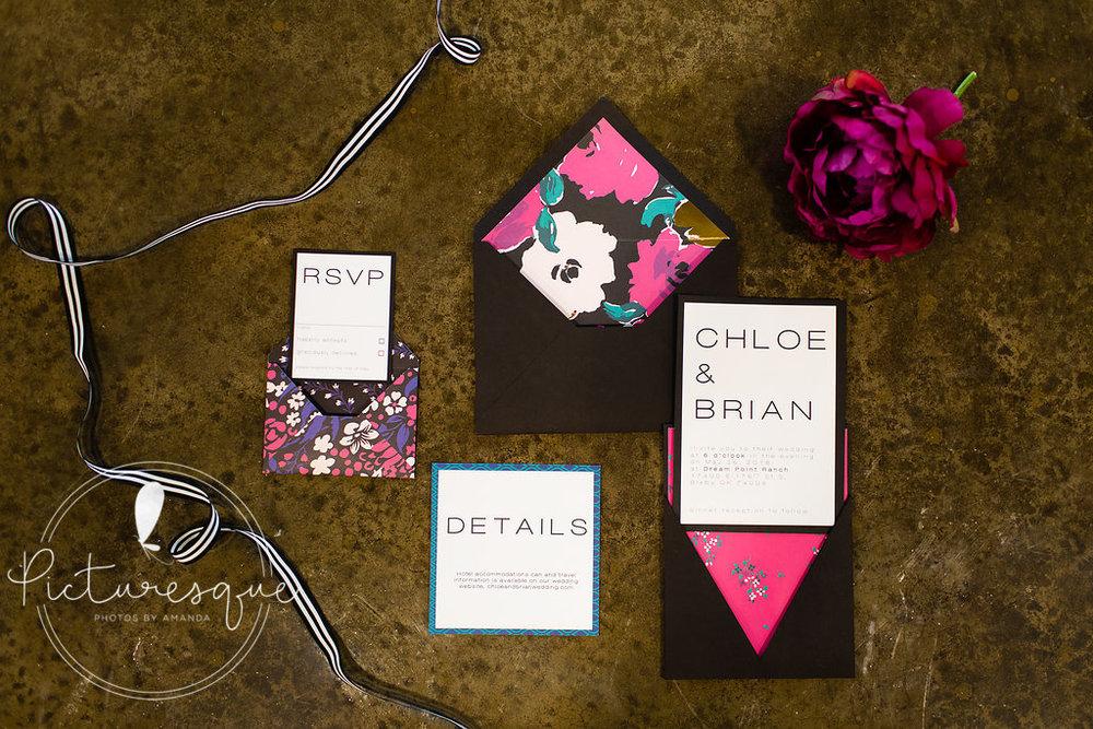 black hot pink invitation suite weddings of tulsa.jpg