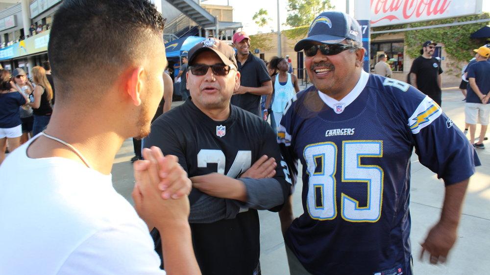 Interviewing best friends Albert Chargers fan &Louie Raiders Fan