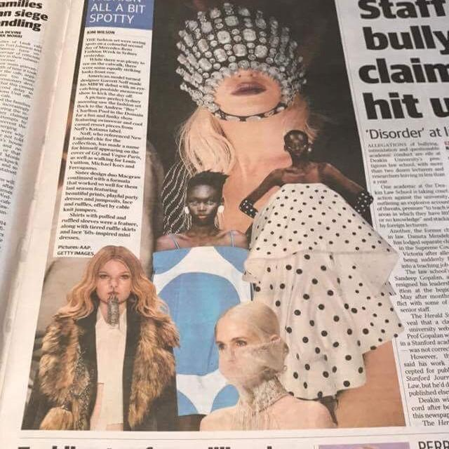 MELBOURNE HERALD SUN - 17th May 2017  The 'Mysterious Gown' featured in Mercedes-Benz Fashion Week review