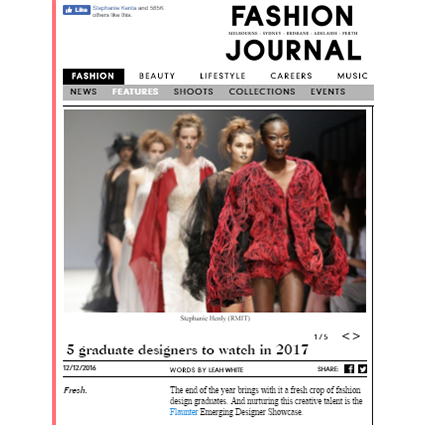 FASHION JOURNAL - DECEMBER 2016  Online article '5 Graduate Designers to watch for 2017'