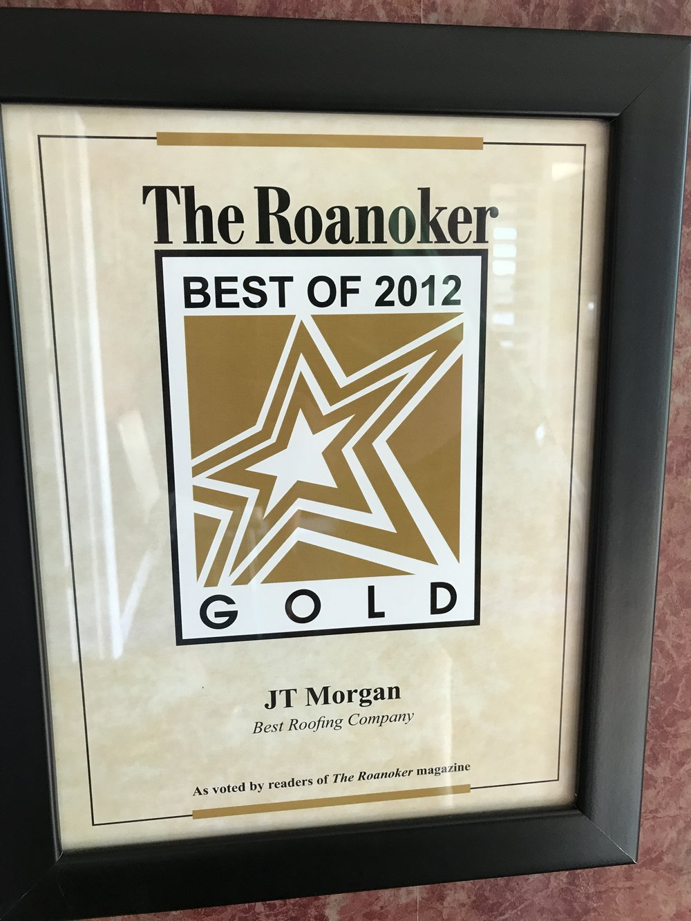 The Roanoker Best Roofing Company Gold