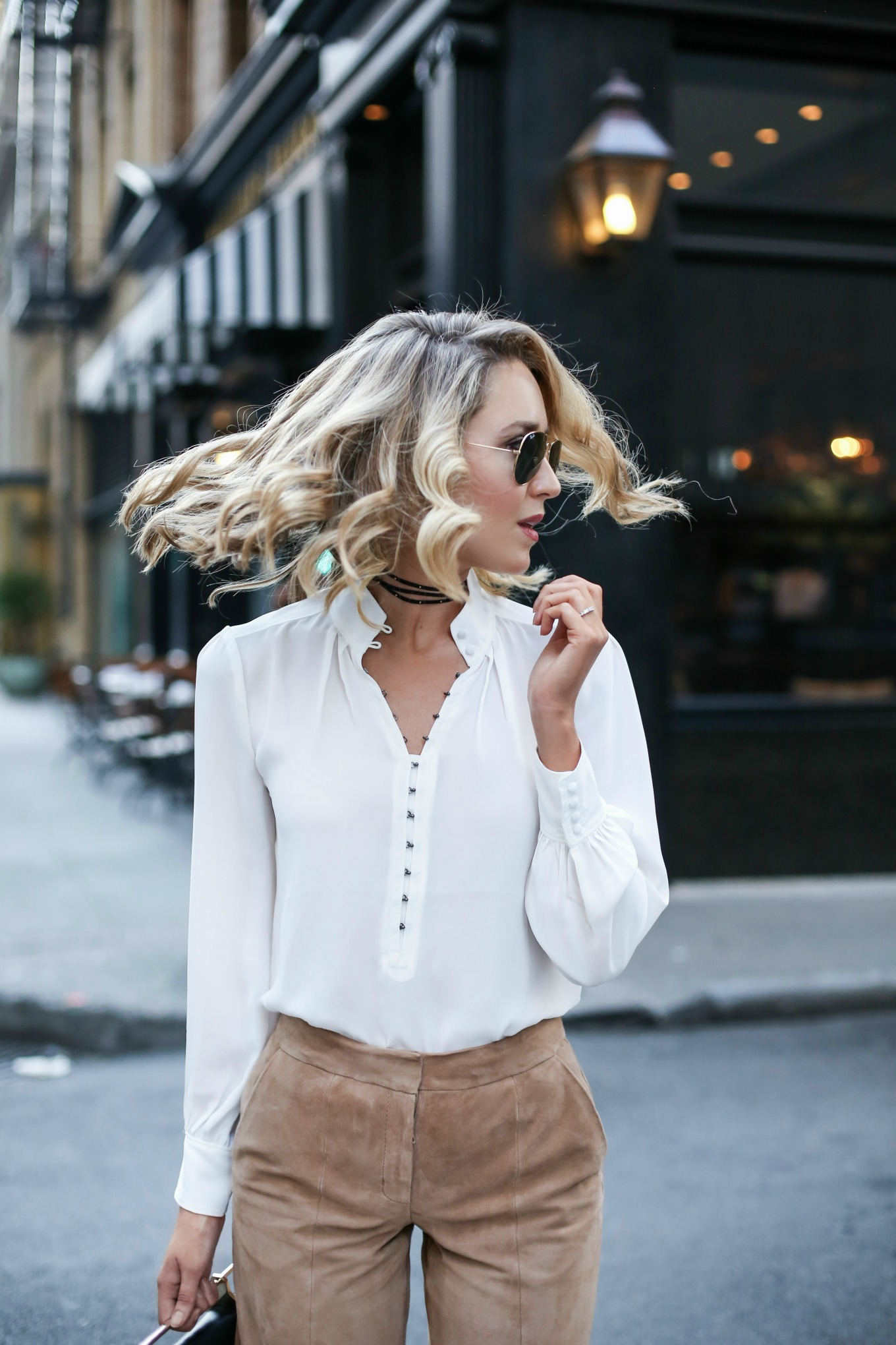 white-victorian-blouse-curled-hairstyle-choker-necklace-aviator-sunglasses