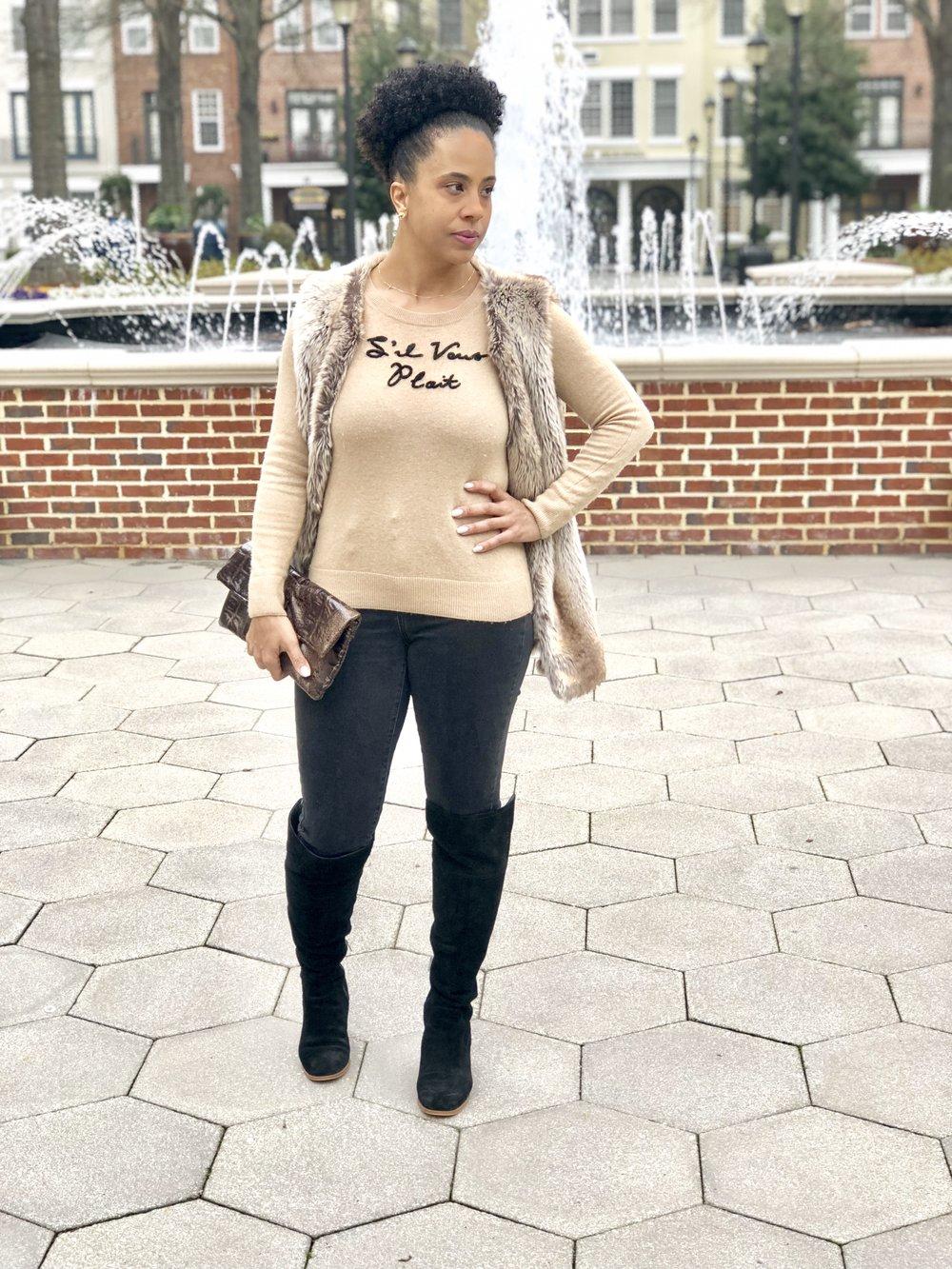 Sweater: Banana Republic Vest: WHBM  Similar Faux Vest Jeans: Target $17.98  Boots: Sam Edelman