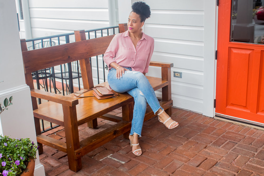 Top:  Old Navy $34.99  Jeans:  Target/Universal Thread $29.99  Shoes:  DSW - on Sale $29.98