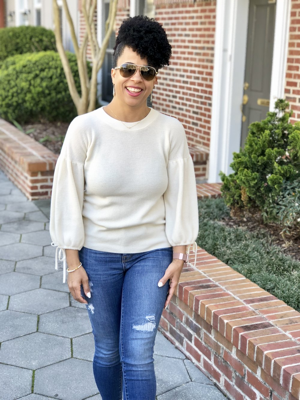 Jeans:  Target Jeggings On Clearance $14.98  Sweater:  On Sale $69.99 Booties:  Nine West/DSW On Sale $69.98  Sunnies:  Gucci