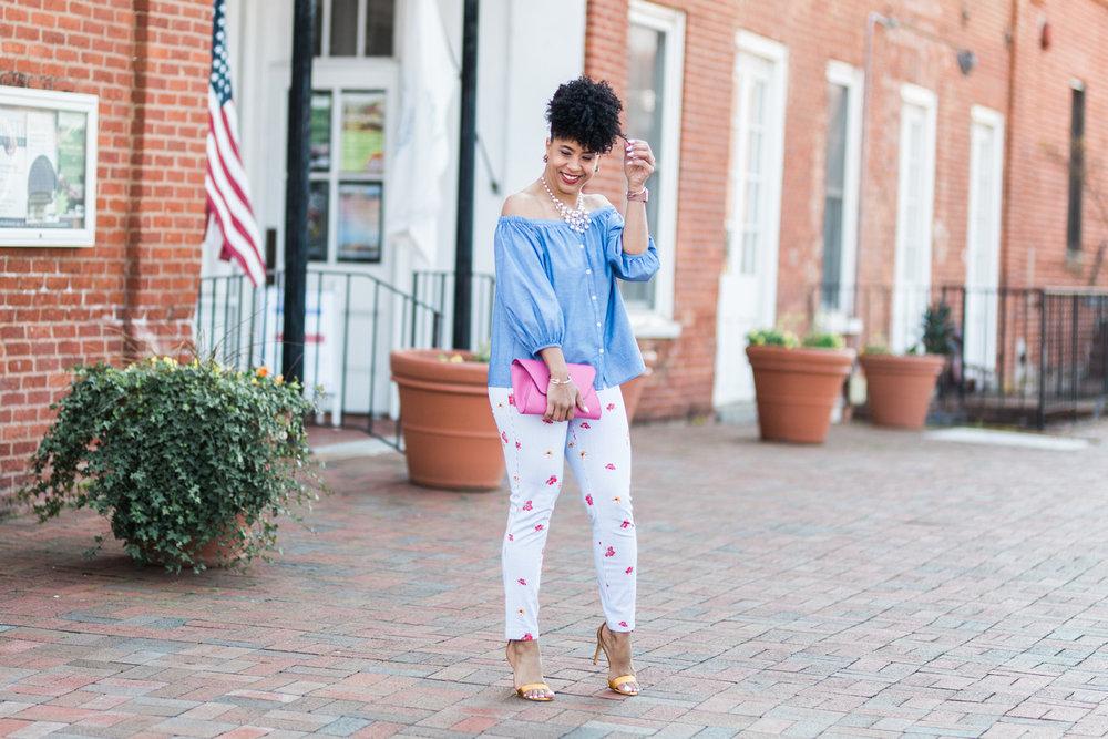 Off the Shoulder (similar) Top , Pixie Pants ,  Shoes ,  Clutch
