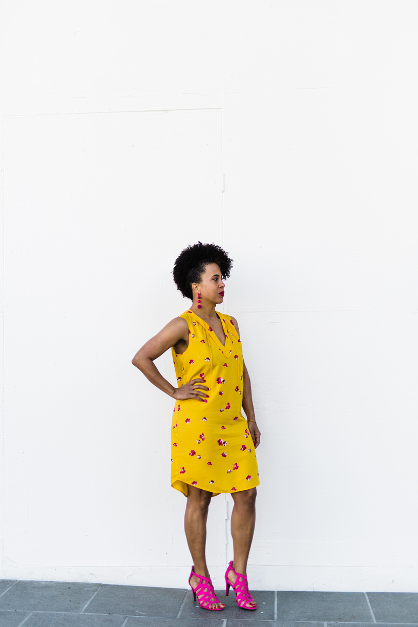Yellow and pick sleeveless dress