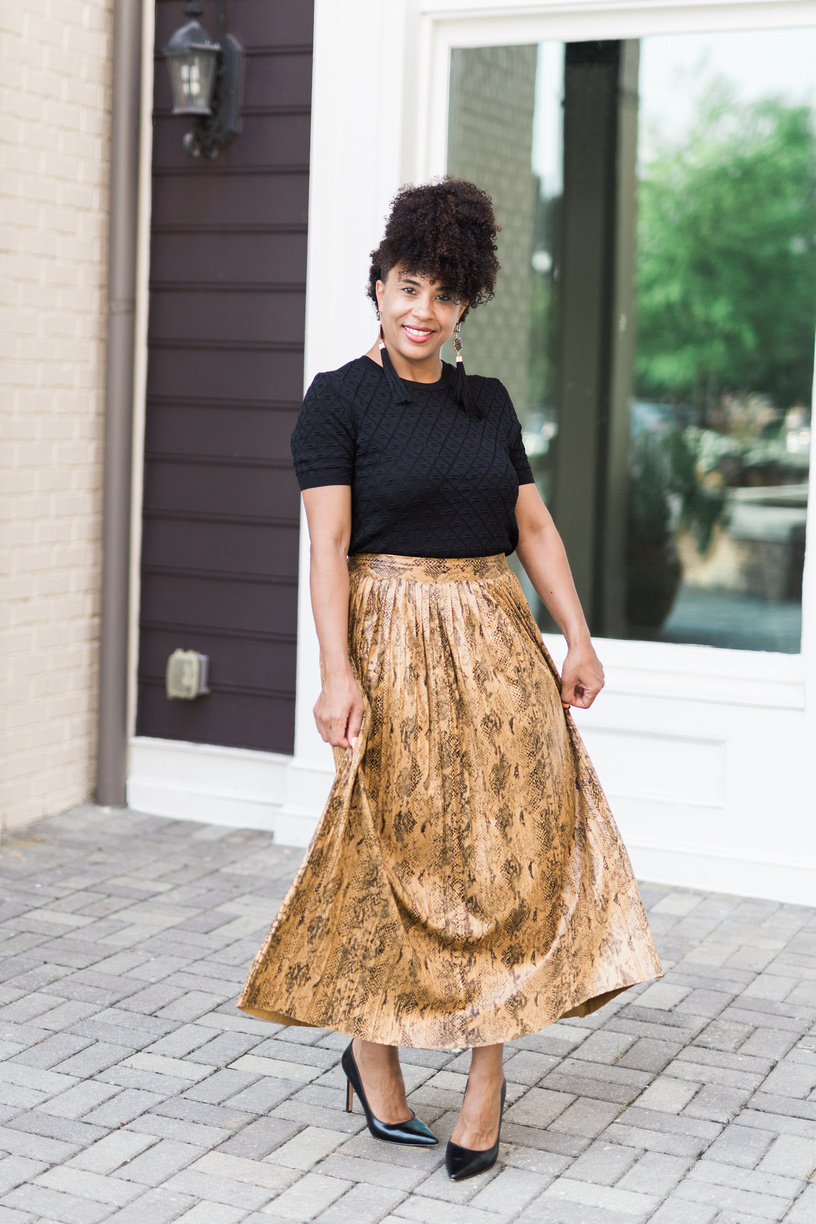 014d6f64fdeb Style Alert: Snake Skin Pleated Midi Skirt — Blogging Beautifully