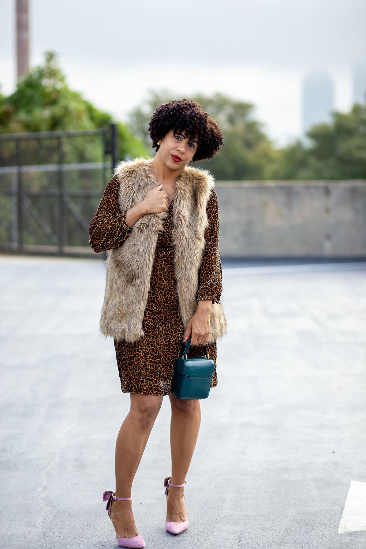 Faux Fur Vest and J Crew Leopard Dress.jpg