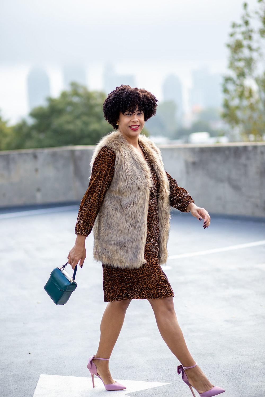 Pair a Faux Fur Vest and J Crew Leopard Wrap Dress.jpg