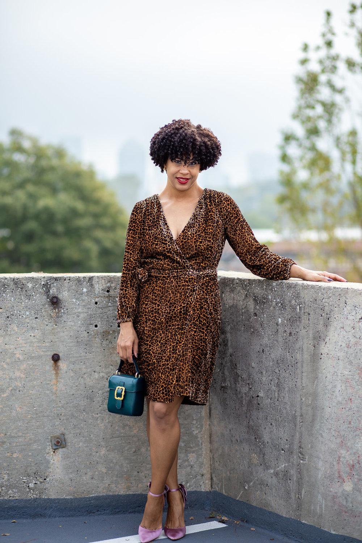 Leopard wrap dress in drapey velvet blush.jpg