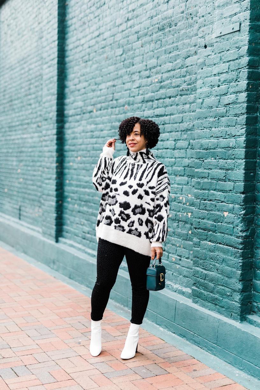 Mixed Animal Print Jumper Sweater