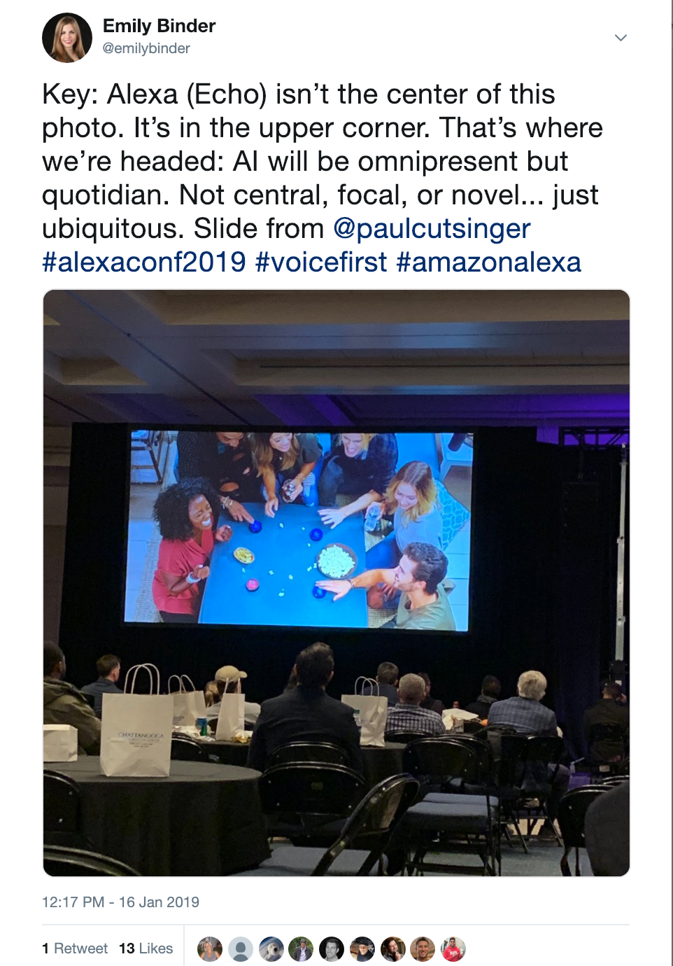 Notice that Alexa (Echo) isn't the center of this photo. It's in the upper corner. Peripheral. That's where we're headed: ubiquity of voice assistants. (My reflection on this slide from Paul Cutsinger of Amazon at The Alexa Conference 2019 - Chattanooga, TN).