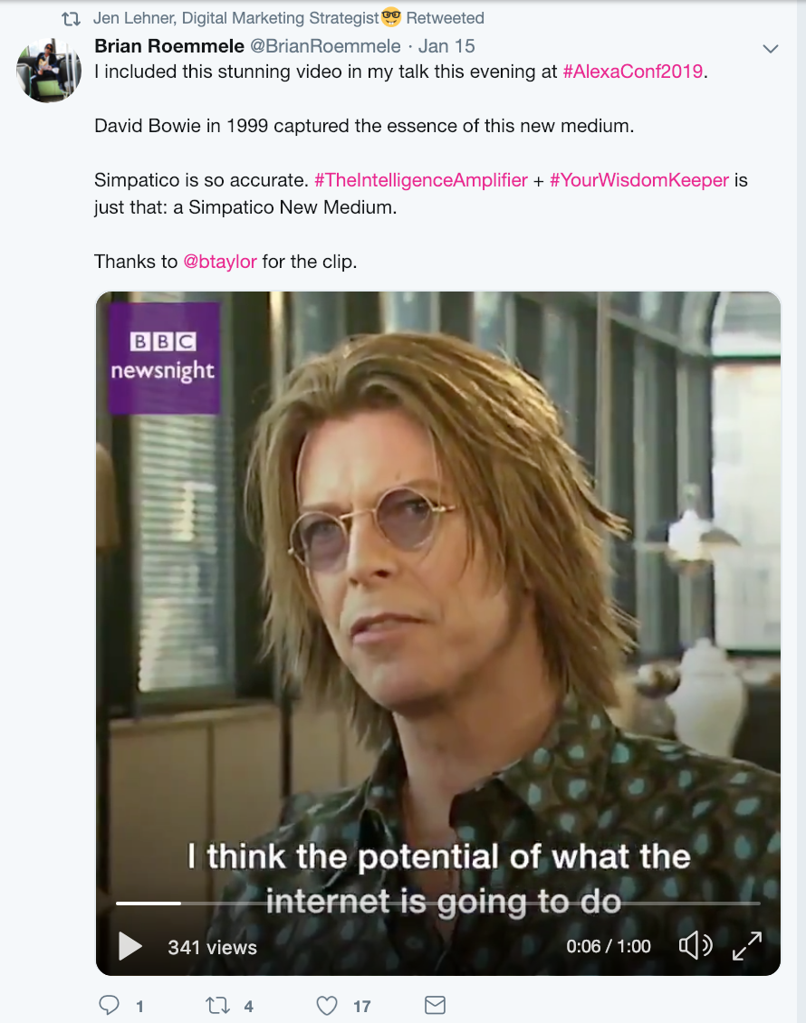 Jen Lehner shared one of my favorite pieces of content via Brian Roemmele: David Bowie predicting the future in 1999. Powerful.