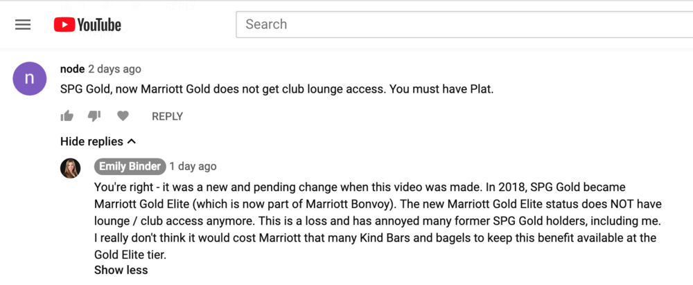 Comments about AmEx Platinum Authorized User Benefits, one of which used to be SPG Gold Status with Club access.  Watch the video here .