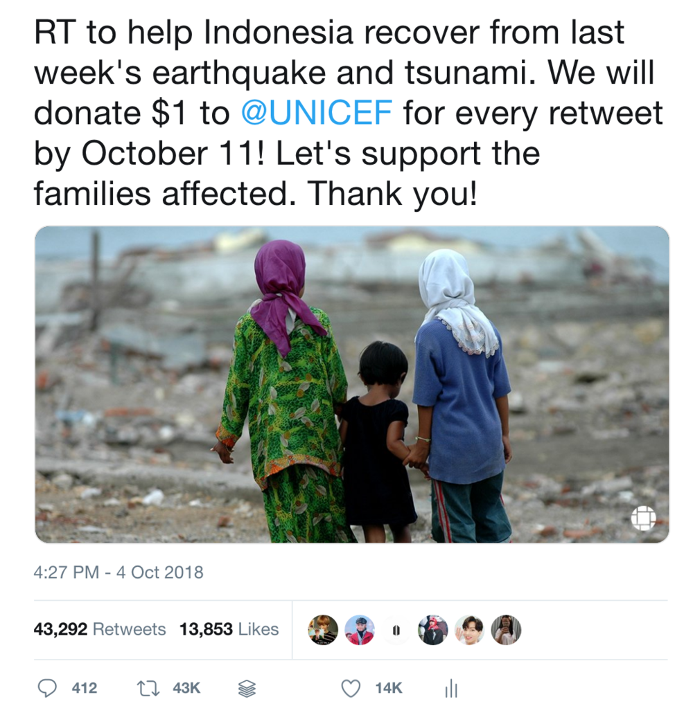 Relief campaign for natural disaster: went viral organically on Twitter