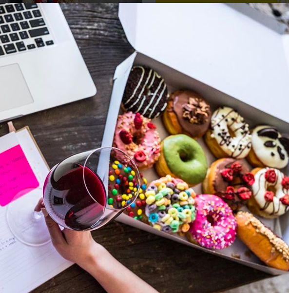 Merlot + donuts go together on Fridays... right? #TGIF  @Postmates Instagram