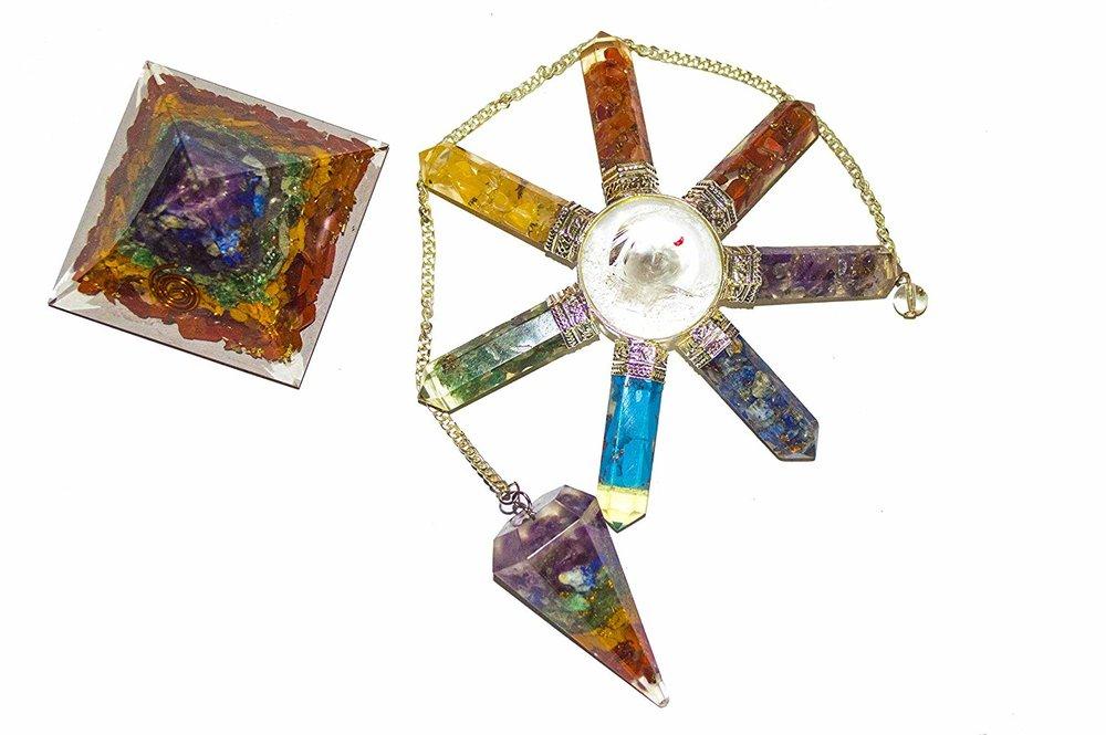 Seven Chakra Set Orgone Pendulum