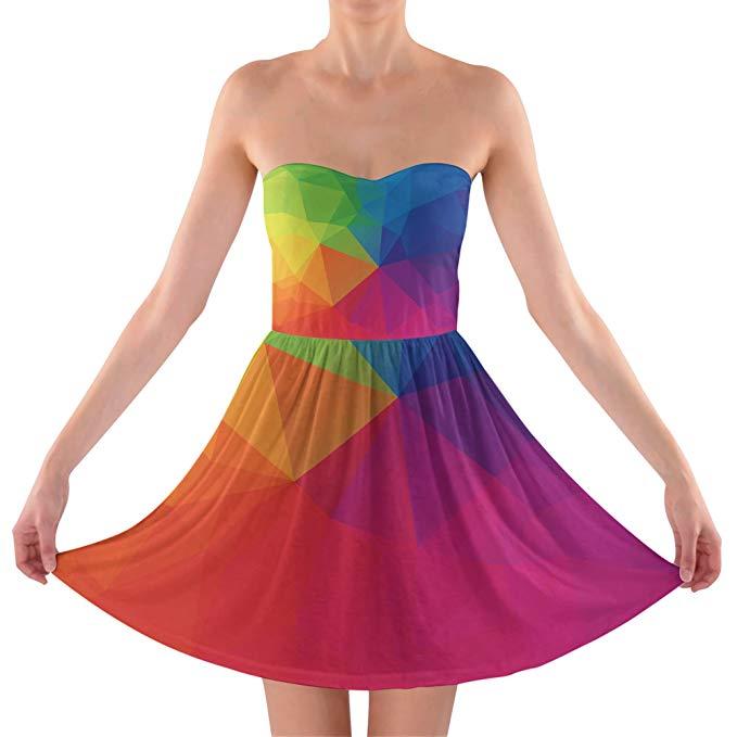 Rainbow Geometric Shapes Strapless Bra Top Dress