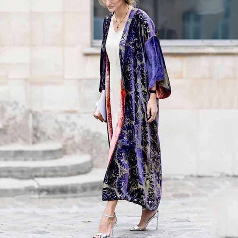 Printed Colour Long Sleeve Coat