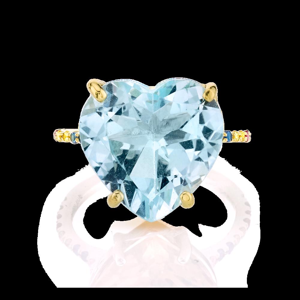 Blue Topaz  Rainbow Heart Ring