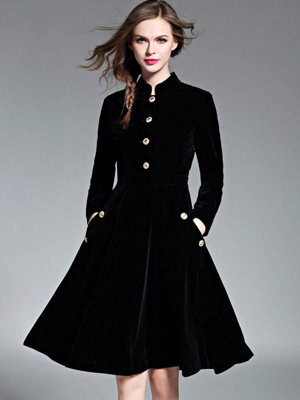 Pleuche Stand Collar Long Sleeves A-Line Dress