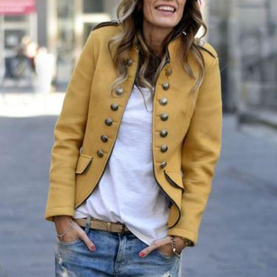 Fashion Pure Colour Long Sleeve Coat