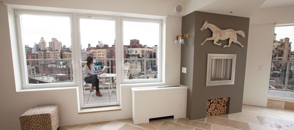 11:03 AM. 145 East 84th Street. - Through a Skyline Series 500 Tilt and Turn Handle Window