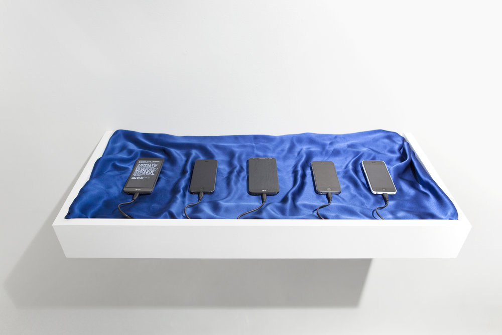 Towards the Wild Beyond,  2017  Various smart phones, command-line interface, blue silk cloth, wood (SLEEPCENTER, NY), Photo: Ryota Sato
