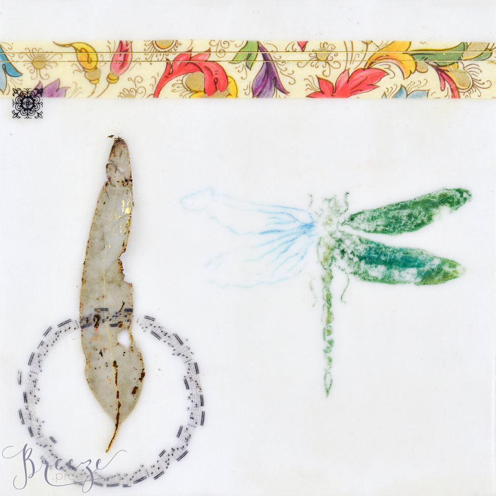 Dragonfly Encaustic Panel