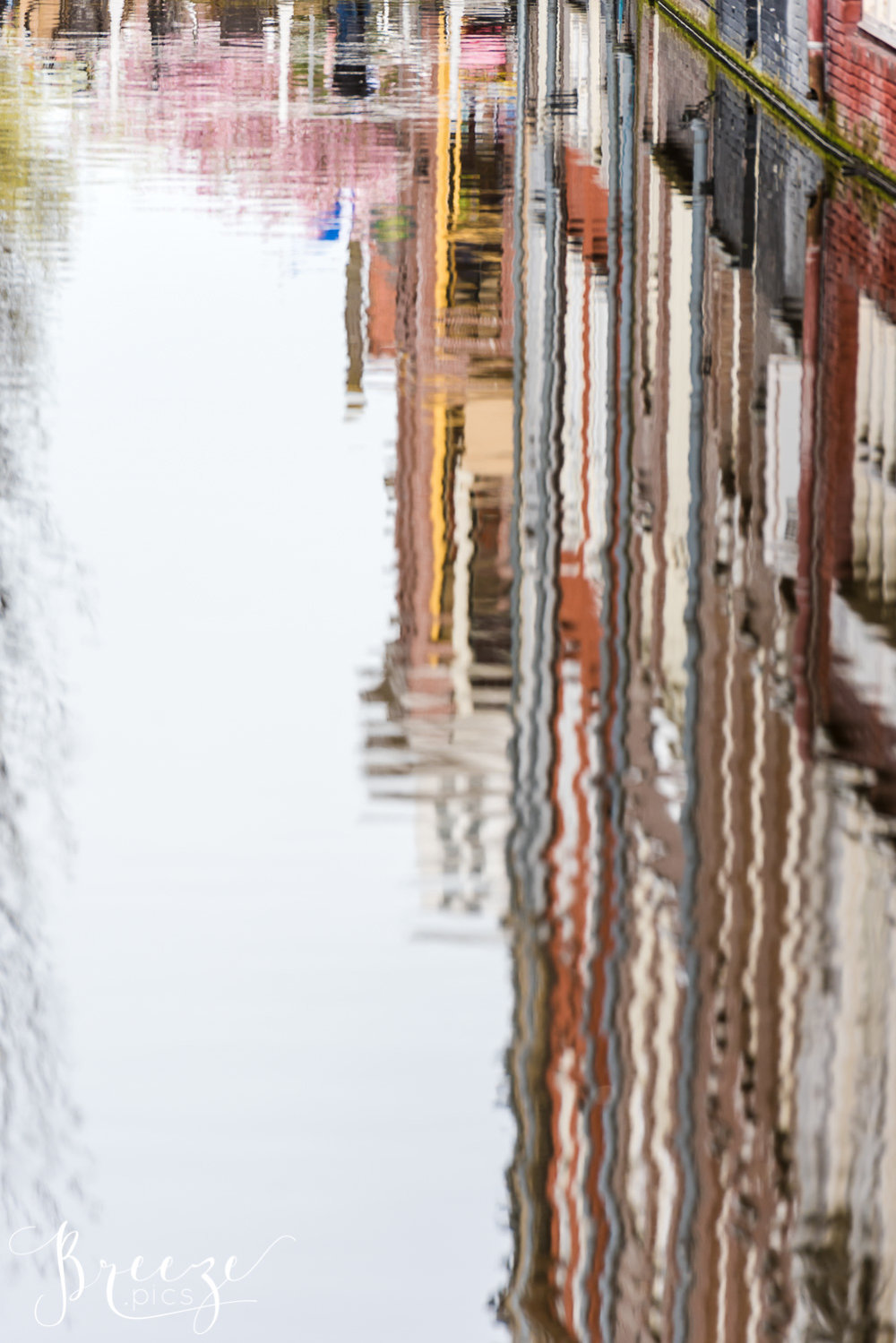 Delft Canal Reflection, Travel Photography, Bernadette Meyers