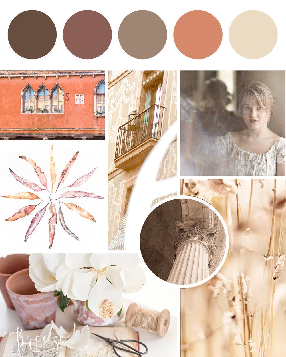 Earth toned mood board, creating a sanctuary at home, Breeze Pics