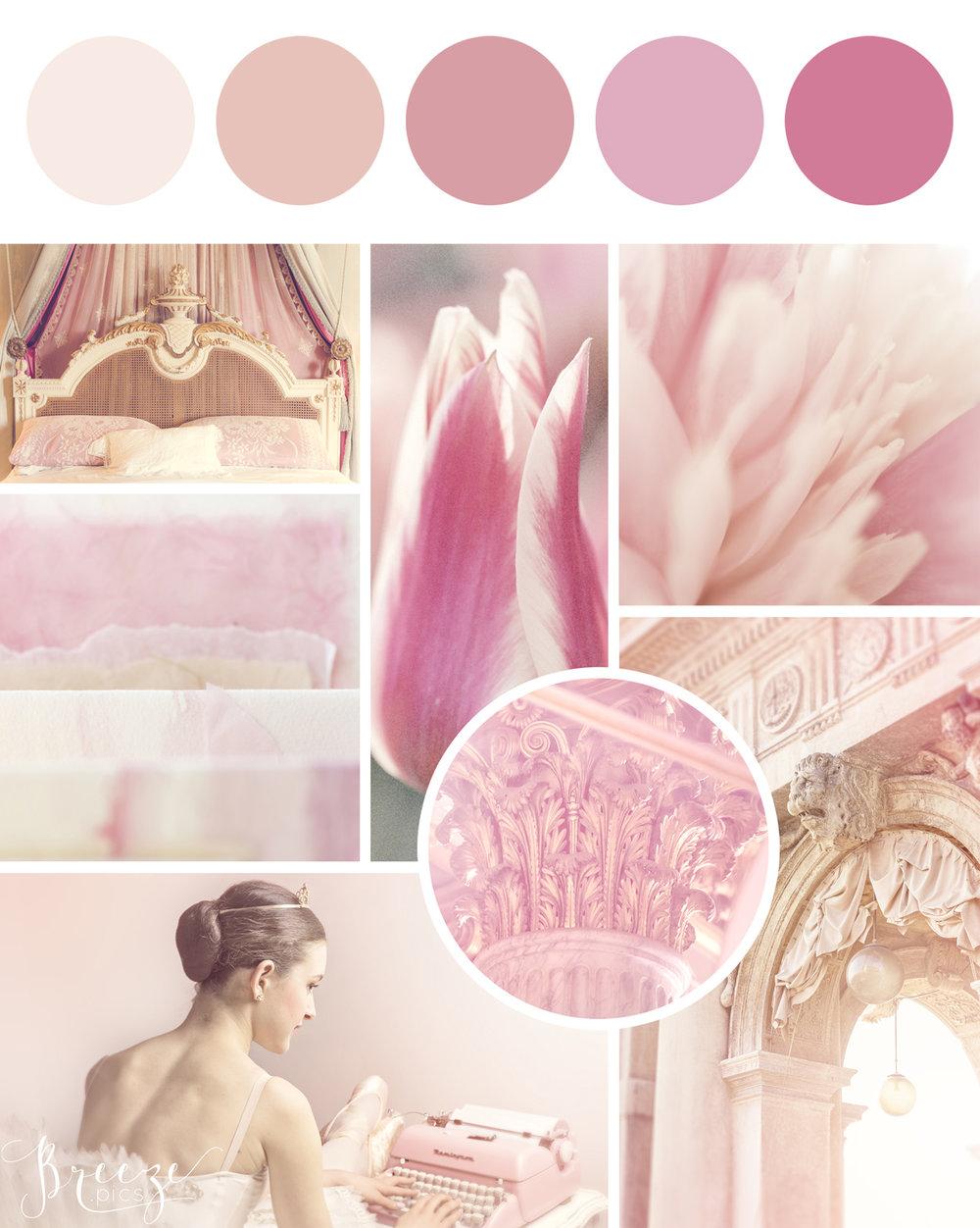 Pink mood board, creating a sanctuary at home, Breeze Pics