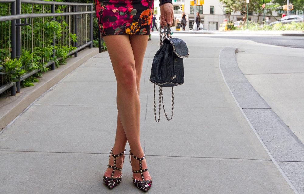 Valentino Stud Heels, Dubai Edition  Stella McCartney mini backpack, wrapped as a clutch