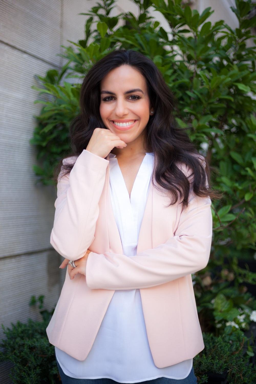 Leyla Bilali, wearing Greylin Salmon Jacket