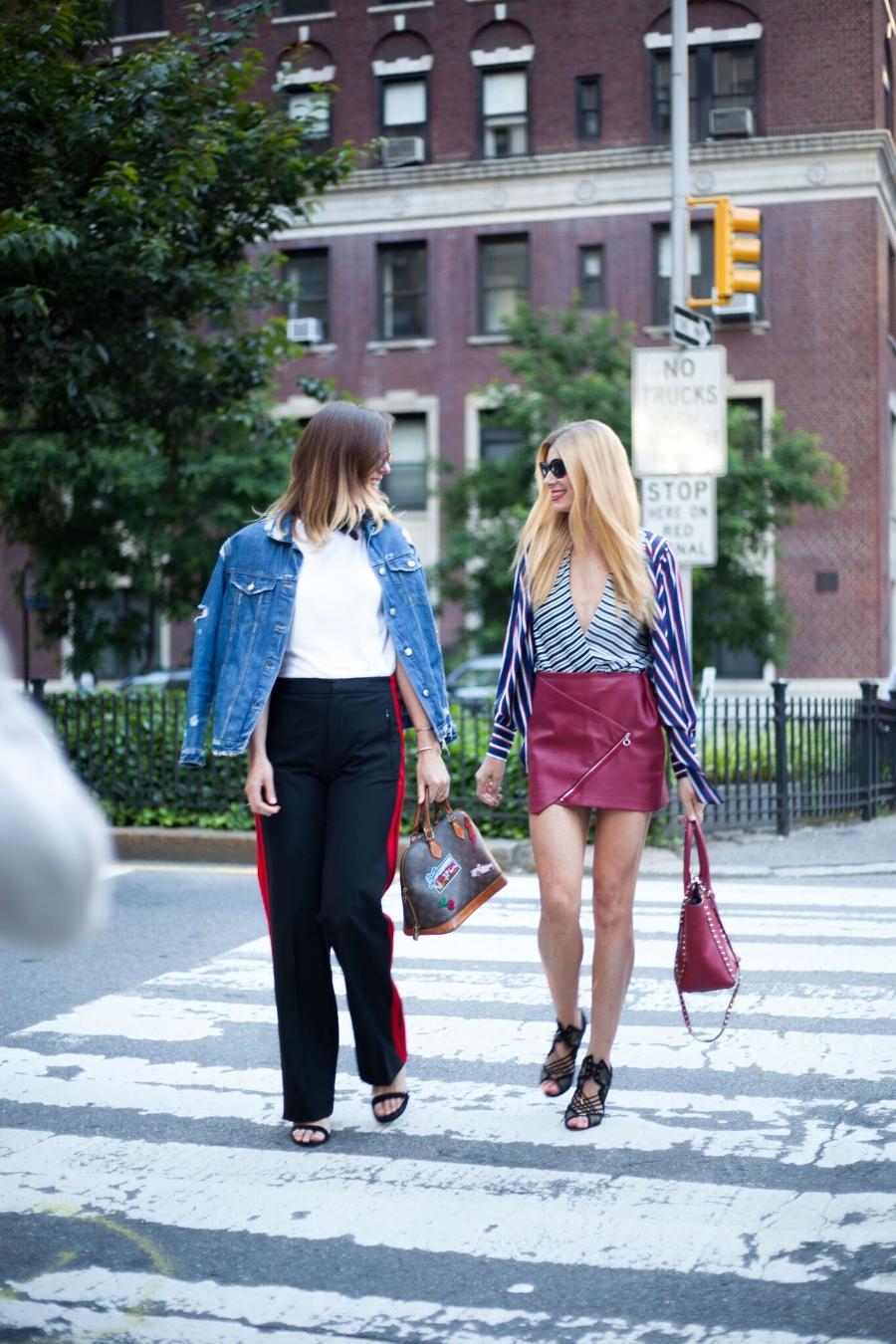 Kelsey Ives (Left), wearing Jean Jacket, Zara   Pants, Zara