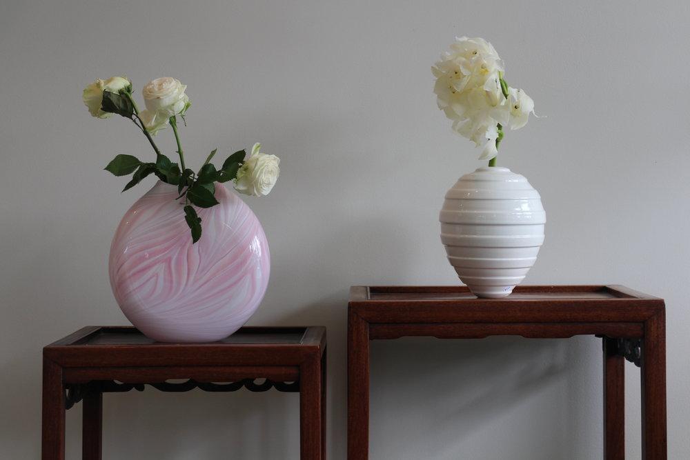 Hoglund Art Glass Vase (left) and John Parker Orb