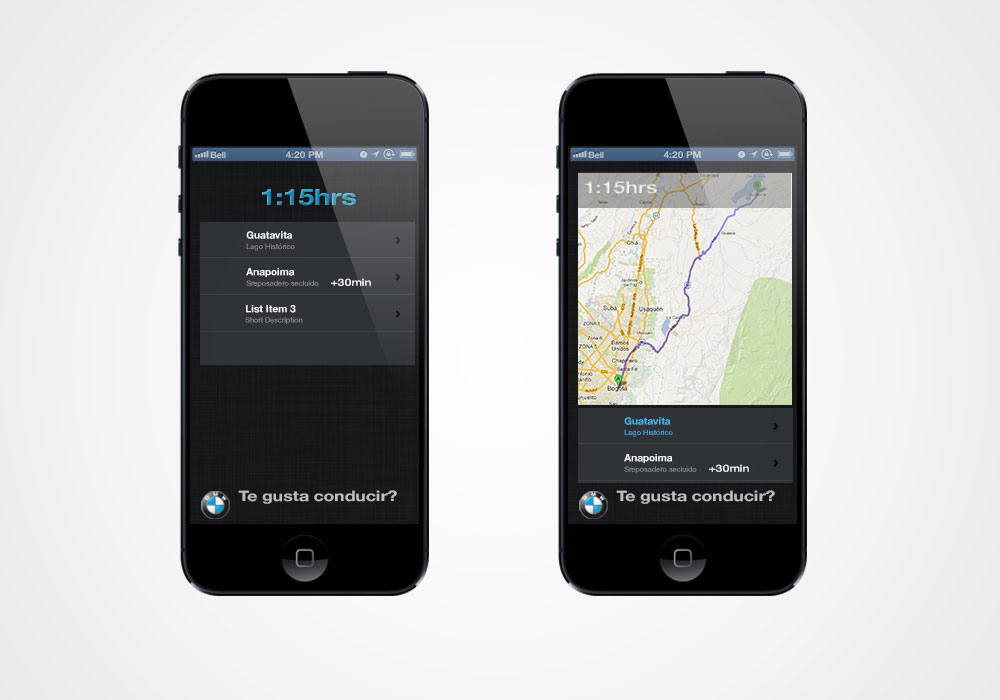 Using the phone's technology, the application will offer interesting destinations that match your desired driving time.