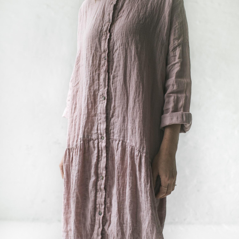 0cbf6a20c2 Seaside Tones  Oversized Linen Dress - Pink