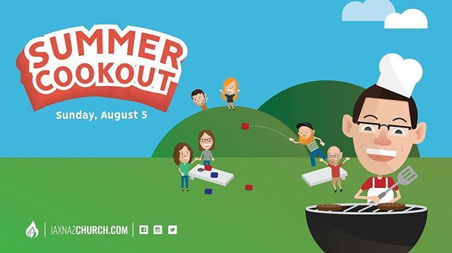 S U M M E R  C O O K O U T | Sunday, August 5 | Following our 11:15a worship service!  We reached the end of our summer road trip. Now, let's celebrate! We're going to do an old-fashioned potluck picnic!  We will provide hot dogs and condiments. You bring a blanket, drinks, some food to share (in a disposable container), and yard games to set up and play with your church family.  Last names starting with A - M, bring a dessert.  Last names starting with N - Z, bring a side dish.  #jaxnazchurch #jaxnazroadtrip #summercookout