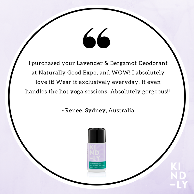 Products Reviewed: KIND-LY 100% Natural Deodorant Lavender & Bergamot