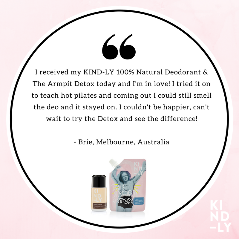 Products Reviewed: KIND-LY 100% Natural Deodorant Coconut & Vanilla, The Armpit Detox