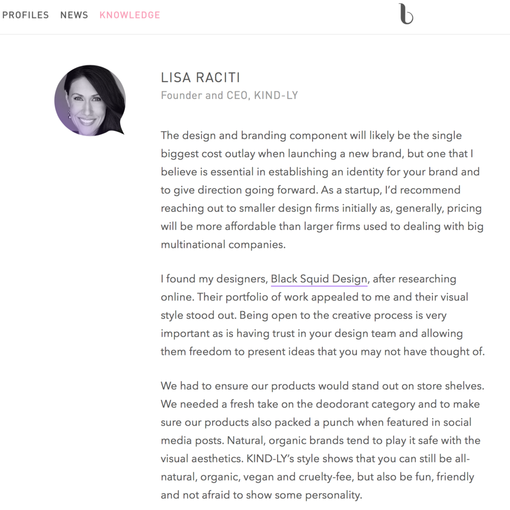 Beauty Independent - Founder Lisa Raciti discusses the brand aesthetics behind KIND-LY with Beauty Independent.