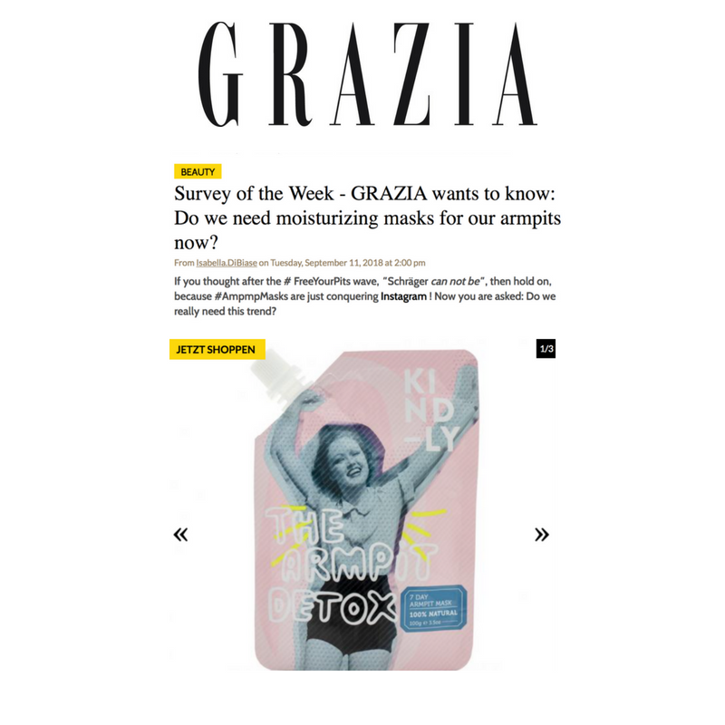Grazia Germany - The Armpit Detox by KIND-LY featured by Grazia magazine Germany.