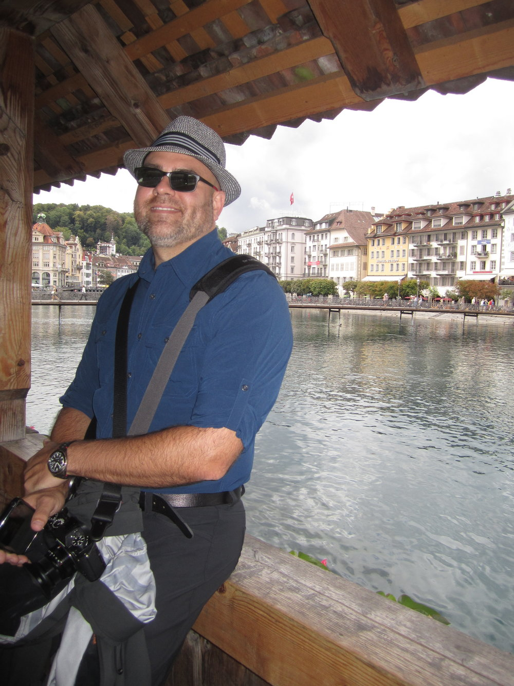 Caught in the act by the lovely Terry C.   Chapel Bridge, Lucerne, Switzerland.